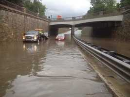 Route 9 is flooded in Wellesley.