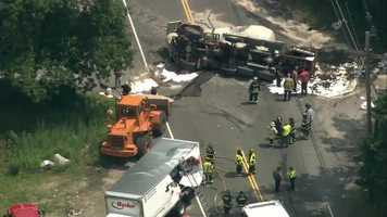 A cement truck collided with a box truck in Walpole.