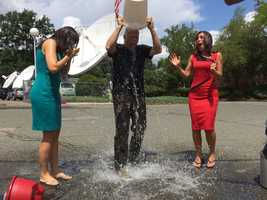 Nope, he's just giving the EyeOpener ladies a chance to watch him pour the ice water on himself!
