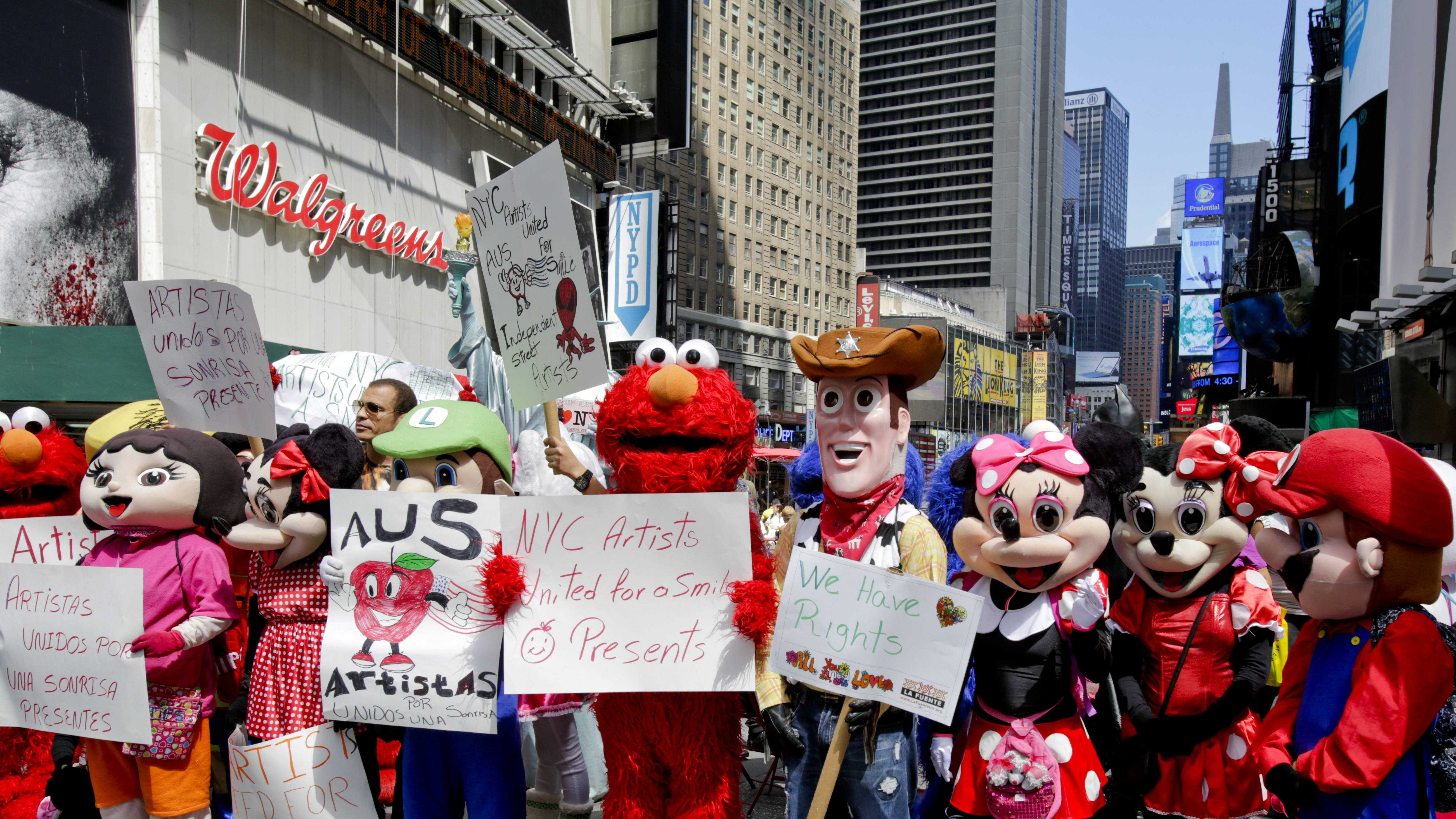 Times Square characters protest 8.20
