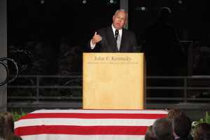Mayor Menino speaks at the memorial service for Sen. Edward Kennedy at the JFK Library in 2009.