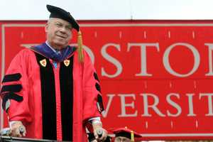 Receiving a honorary degree at Boston University.