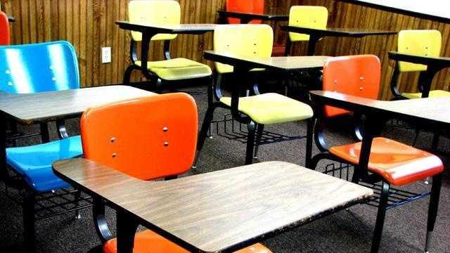 school desks classroom - 13689242