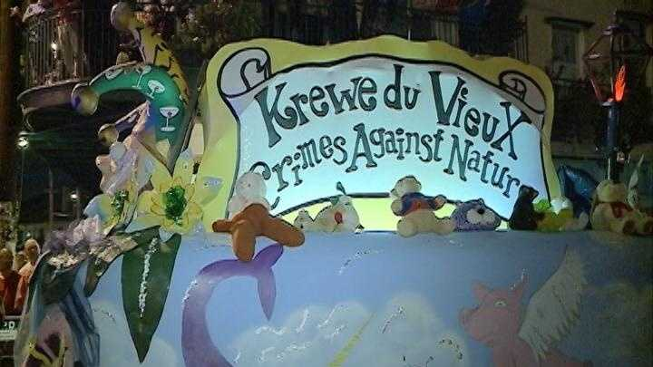 "(2012) Krewe du Vieux rolls through the French Quarter with its 2012 theme of ""Crimes Against Nature."""