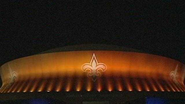 The Mercedes-Benz Superdome at night