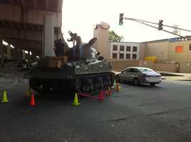 It wasn't the National Guard or a military operation that left a tank in the middle of the road in the Warehouse District on Monday night. The tank, which belongs to the National World War II Museum, stalled out at the intersection of Calliope and Annunciation streets. Click here to read the story