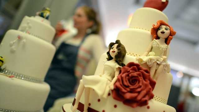 Gay marriage, brides on wedding cake