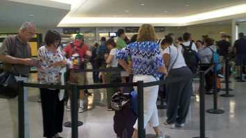Lines build up at the Louis Armstrong International Airport.