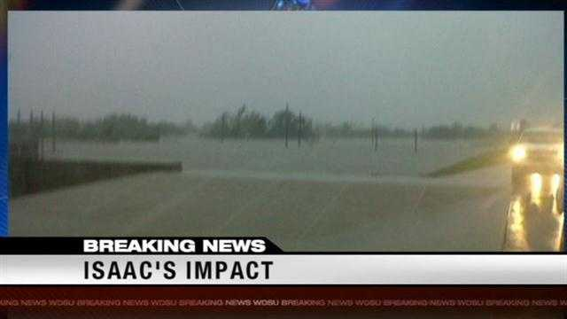 Travers Mackel reports from Plaquemines where part of the parish is under water from levee overtopping.