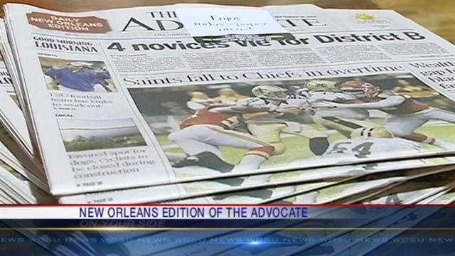 With many of its top executives and community leaders in attendance, The Advocate newspaper formally launched its foray into the local market at a location that is a New Orleans institution.