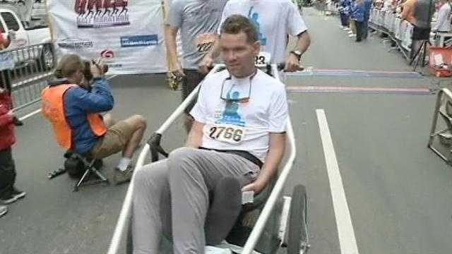 Former Saint Steve Gleason crosses the finish line