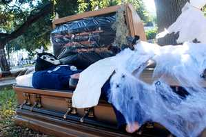 """Some officers will dress up up amid the decorations which features a """"Mr. Crime"""" in a coffin."""
