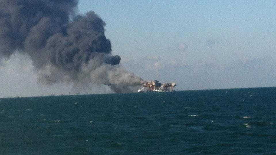 Gulf rig Fire - Facebook (Jared Aucoin)
