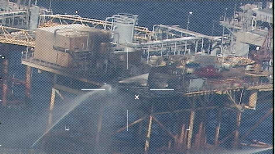 Commercial vessels extinguish a platform fire on board West Delta 32 approximately 20 miles offshore Grand Isle, La., in the Gulf of Mexico. First responders medevaced nine of the platform's 22 personnel to nearby rigs.