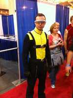 This fan dressed up as Cyclops from the X-Men.