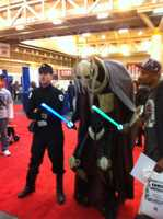 The fan devoted a lot of time to his General Grievous costume. His body is in the cape, while the machine portions are attached on the outside.