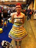 A fan made this dress of gaming cards.