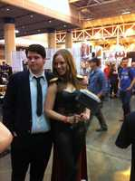 A fan dresses up as a female version of Thor.