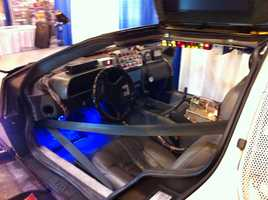 Dashboard view of the Back to the Future DeLorean.