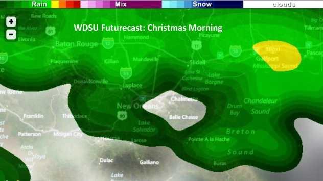 Futurecast: Christmas morning rain expected