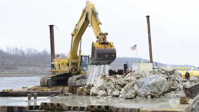 Mississippi River rock removal dredging