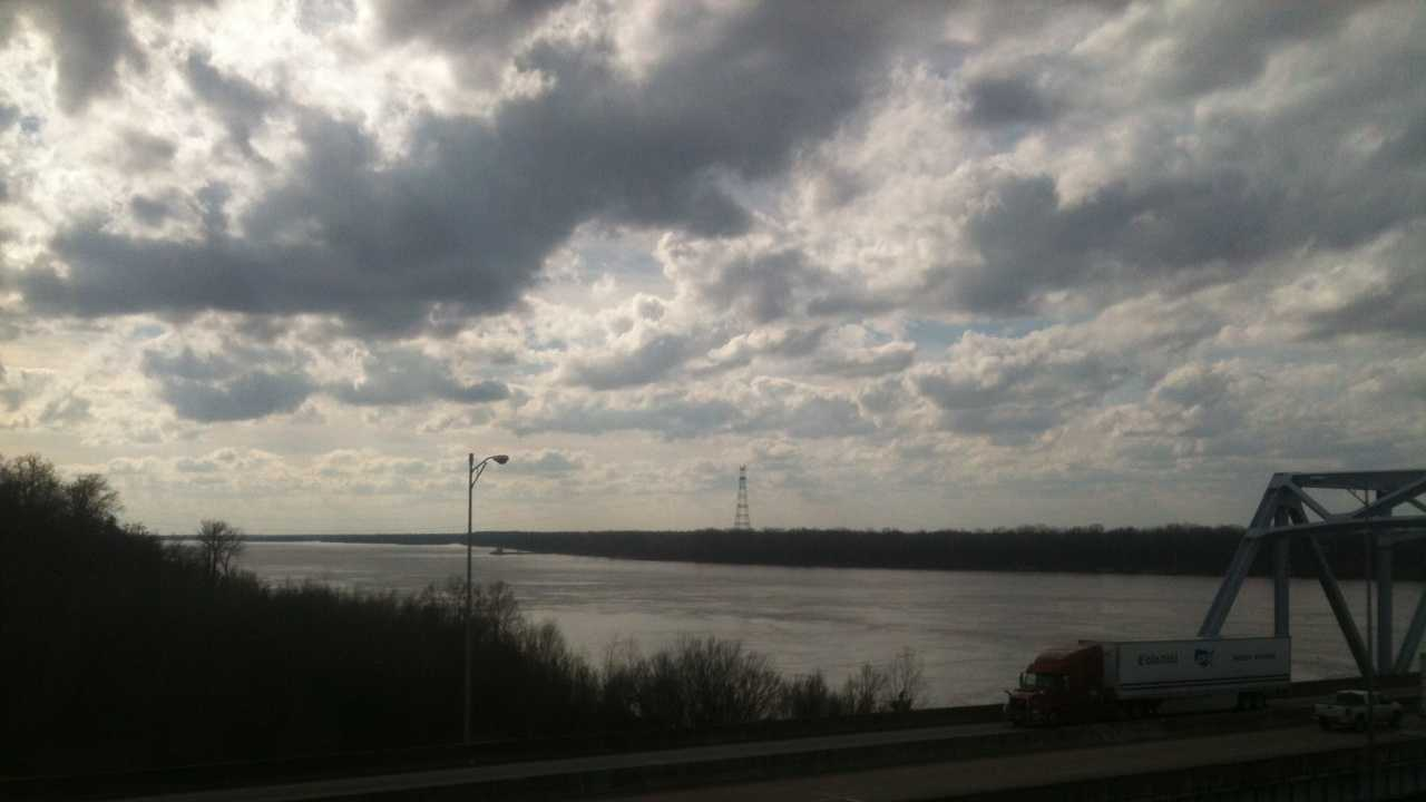 Officials with the Coast Guard said two oil barges were heavily damaged when they hit the railroad bridge over the Mississippi River at Vicksburg, Miss.