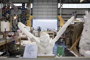 Each Krewe has a theme, and that theme is brought to life at Mardi Gras World. Once they sketch out the top secret concept, sculptors get to work carving props out of styrofoam.