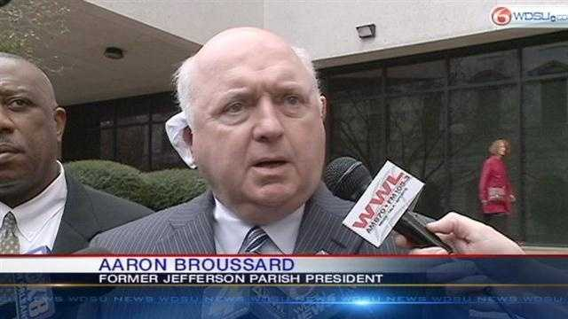 Former Jefferson Parish President Aaaron Broussard sentenced to 3 years, 10 months in prison for pleading guilty to bribery charges.