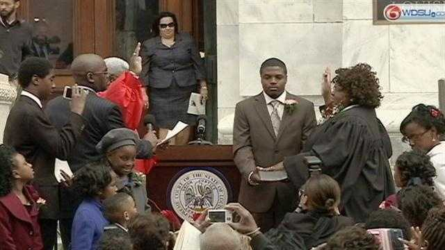 Louisiana Supreme Court Chief Justice Bernette J. Johnson - the state's first black chief justice - has taken her oath of office in a public ceremony in New Orleans.