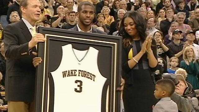 Wake Forest retires Chris Paul's No. 3 Jersey