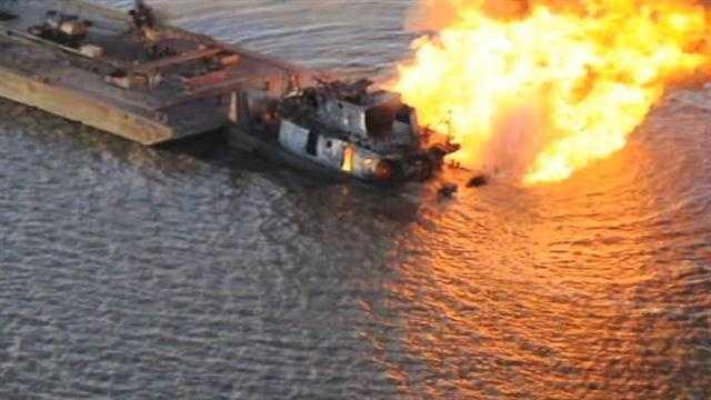 Raw Video: Tug boat fire