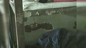 The video shows more of the crumbling and deteriorating conditions within the Orleans Parish Prison cell.
