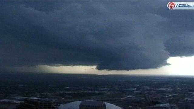 Dark clouds crept over the metro area Monday afternoon, bringing heavy rain and gusty winds.