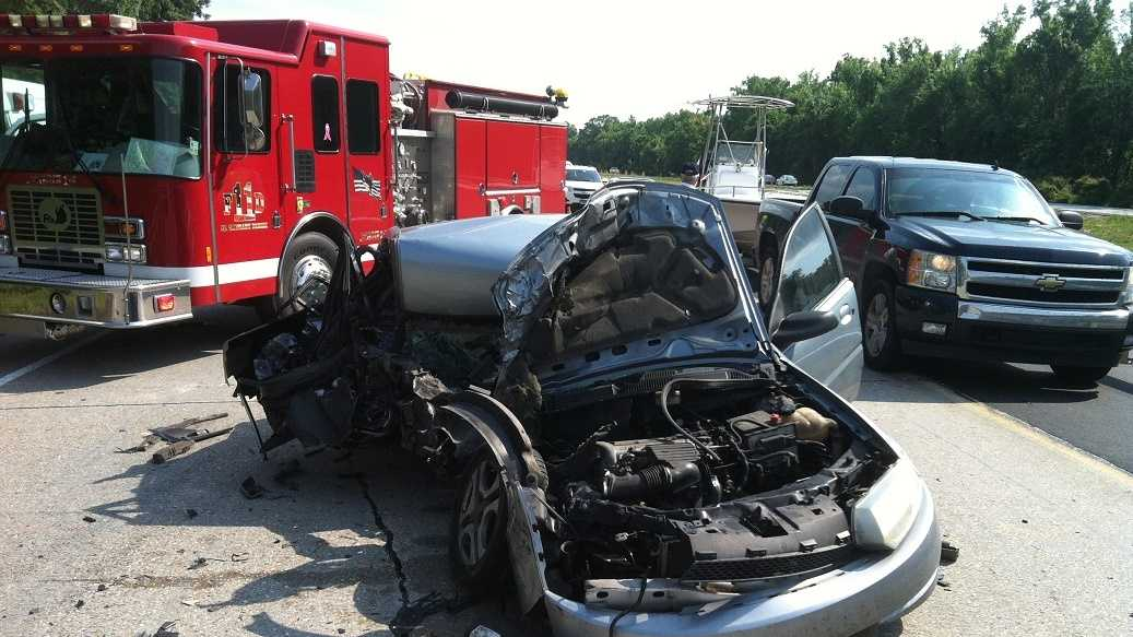 A woman walked away from a crash on I-59 with only minor injuries