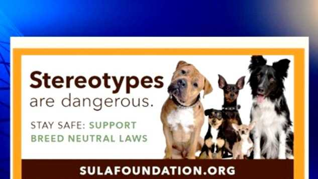 A billboard opposing breed-specific laws is sponsored by the Sula Foundation