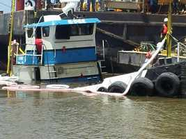 """Wednesday, crews found the sunken tug boat """"C-Pec"""" that shut down a portion of the Mississippi River Saturday, Sunday and Monday. Read the story"""