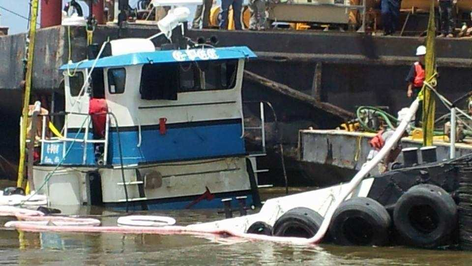 "Wednesday, crews recovered the sunken tug boat ""C-Pec"" that shut down a portion of the Mississippi River Saturday, Sunday and Monday."