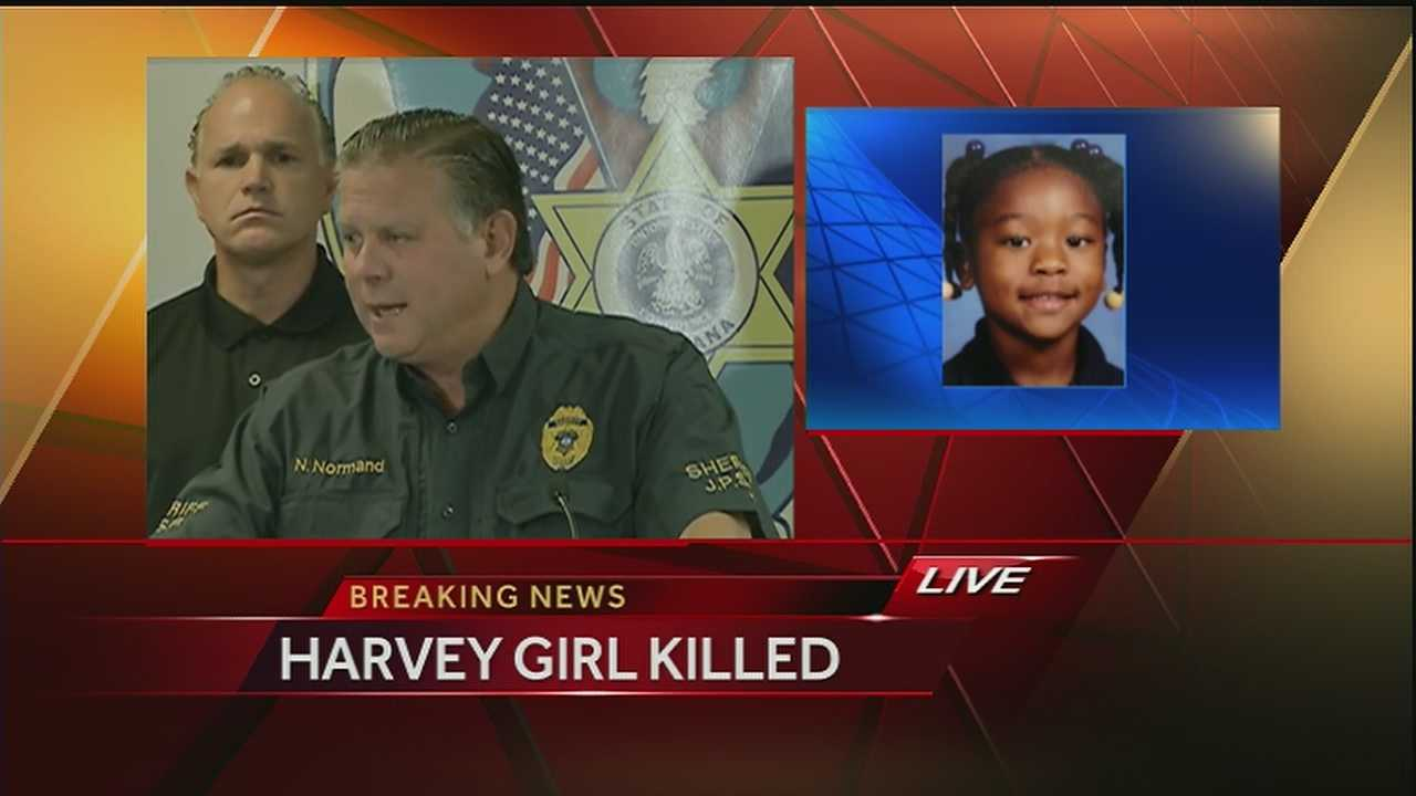 The Jefferson Parish Sheriff's Office says one person is arrested and one person is sought in the death of a girl who was reported missing in Harvey over the weekend.
