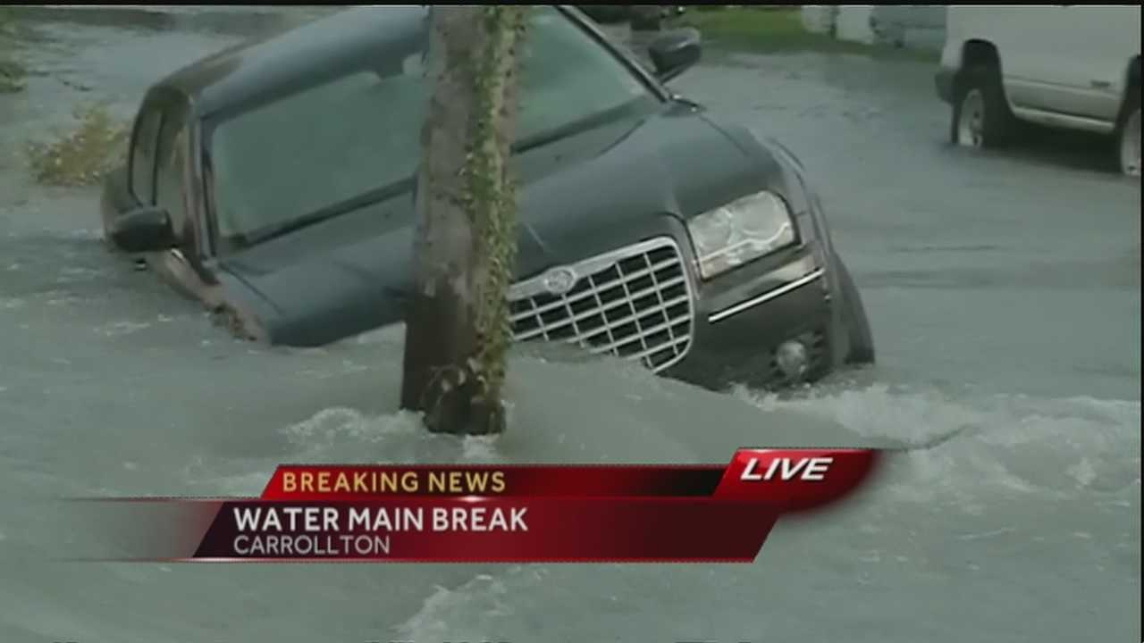 Water main break causes flooding in Carrollton