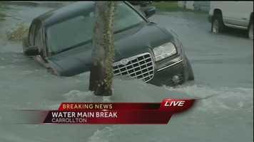A water main break in the Carrollton neighborhood is causing street flooding Tuesday morning.