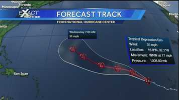 Across the Atlantic, Tropical Storm Erin weakened into a tropical depression.Click here to download our Hurricane Central app: iPhone | Android | Get email alerts