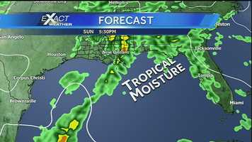 We will likely see some rain related to the Gulf system on Sunday. An influx of tropical moisture could potentially bring heavy downpours and rainfall on Sunday.Click here to download our Hurricane Central app: iPhone | Android | Get email alerts