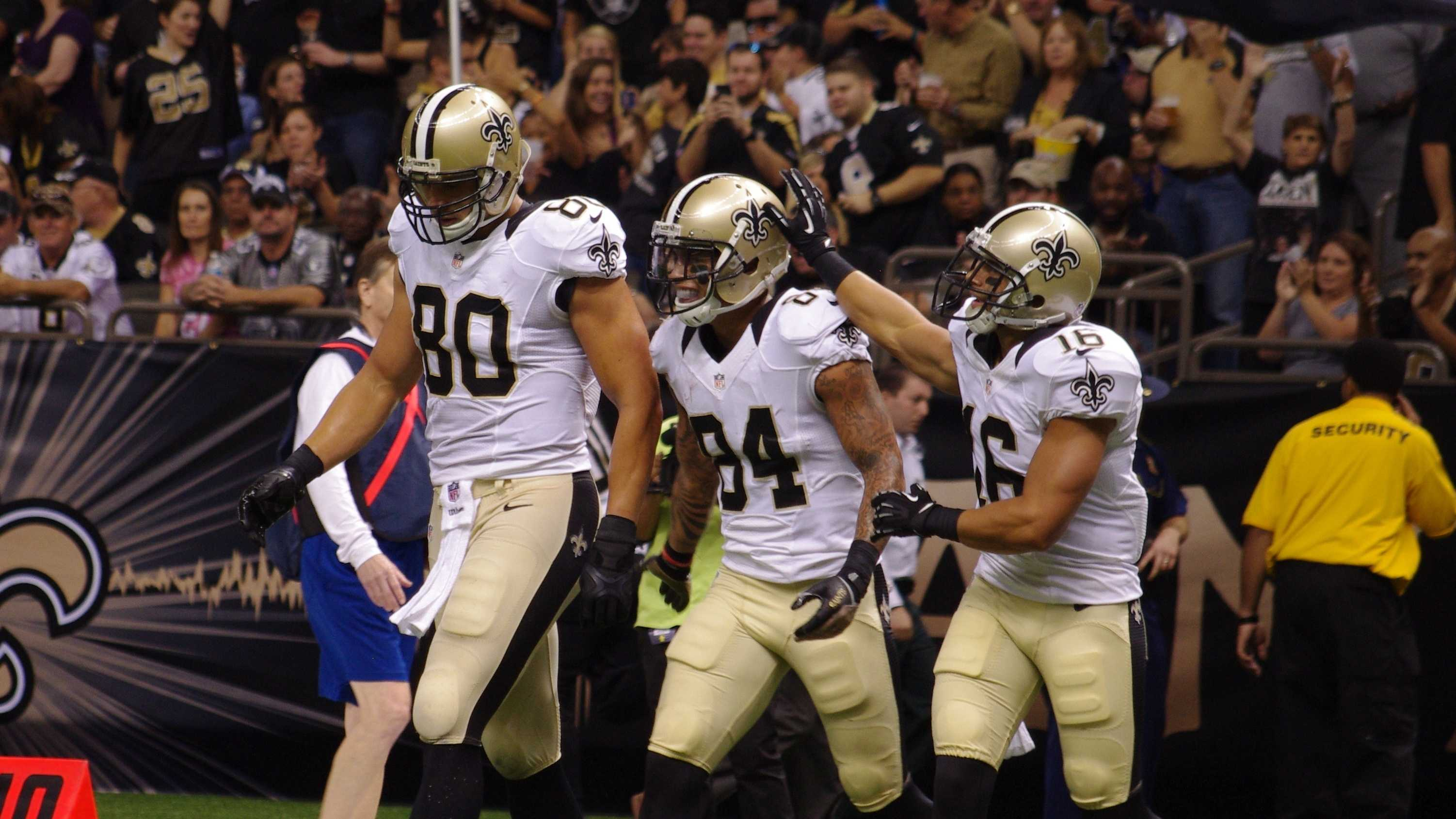 Jimmy Graham, Kenny Stills and Lance Moore.JPG