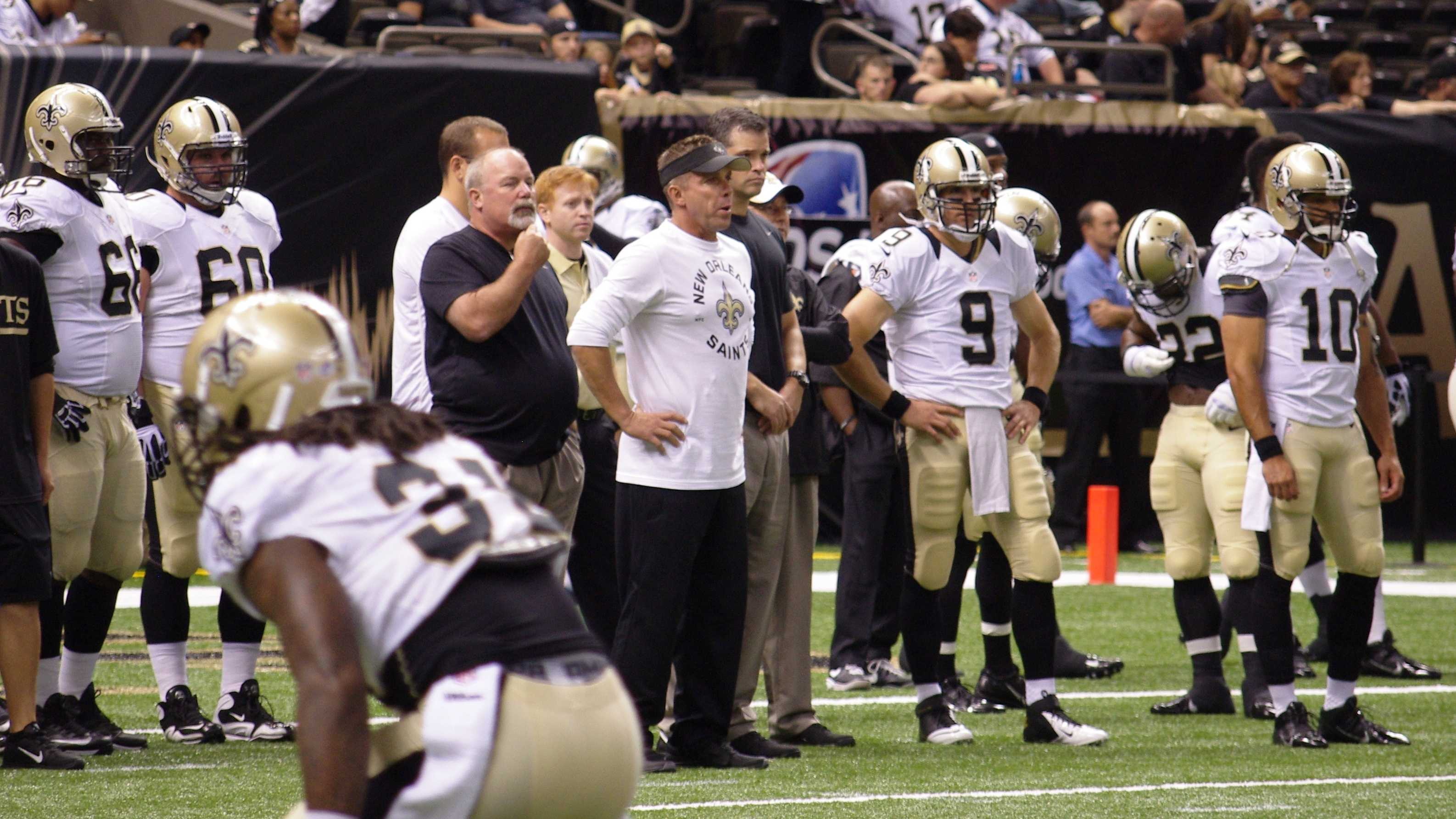 Sean Payton and Drew Brees pregame.JPG