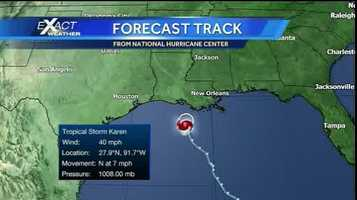 This was the latest information on Tropical Storm Karen at 10 a.m. Saturday from the National Hurricane Center.