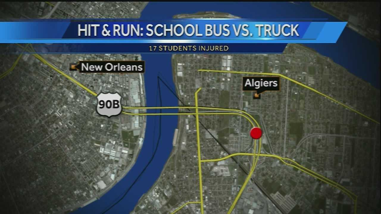 The accident happened Thursday afternoon on the Crescent Connection, just past the toll plaza where several lanes merge together. The bus was carrying students from Landry-Walker High School in Algiers.
