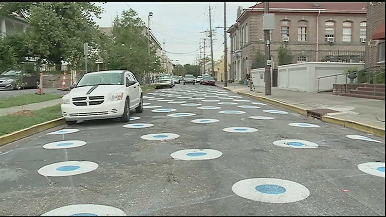 School cites safety as reason for unusual polka dot street project