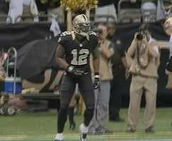 WR Marques ColstonBrees' favorite target Sunday caught five balls for 80 yards, including a big 20 yarder on New Orleans game-winning drive. He became the Saints' all-time leading receiver in the contest.