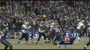 Trailing 3-0 on New Orleans' second offensive possession, Cliff Avril ran around Zach Strief and stripped Drew Brees just before throwing a pass. The ball fortuitously landed in the arms of Michael Bennett, and he rumbled the ball 22 yards for Seattle's first touchdown.