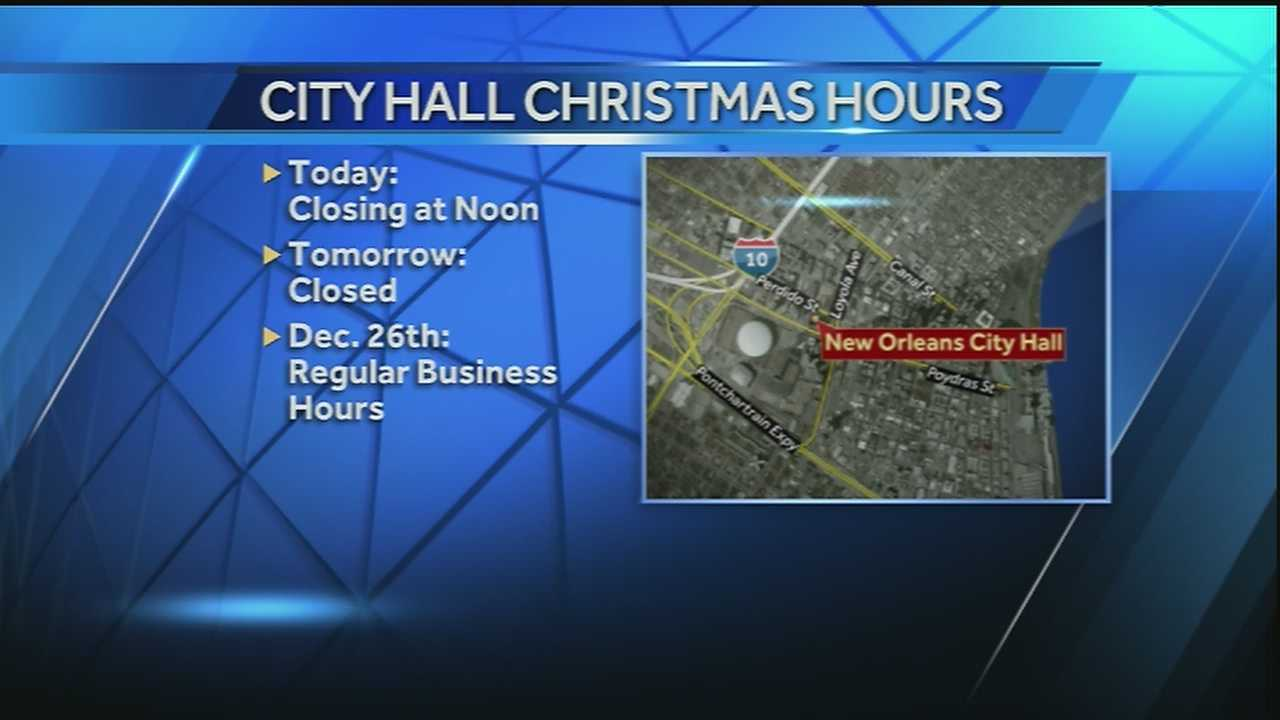 City Hall closed for Christmas